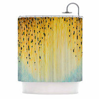 "Ebi Emporium ""Mystic Garden 1"" Yellow Blue Shower Curtain"