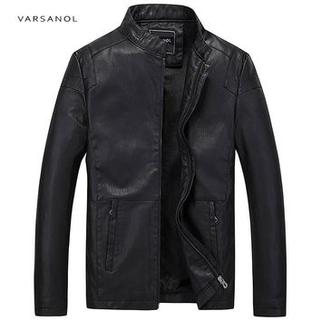 Varsanol Causal PU Leather Jackets Men Long Sleeve Winter Thick Pocket Bomber Straight Outerwear Hot Sale Zipper Brand Clothing
