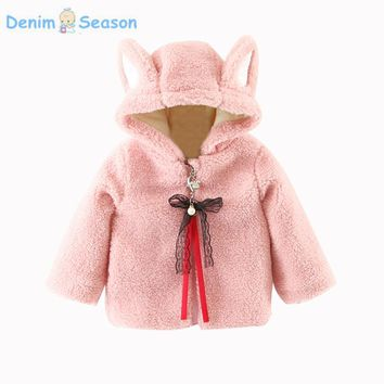 Denim Season Korean Princess Baby Girls Coat Causal Hooded Cute Girl Winter Clothes Thicken Kids Sweet Jacket Infants Outerwear