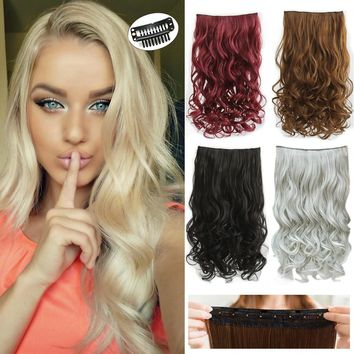 2017 New Gorgeous Long Big Wavy Curly Clip in on Hair Extensions