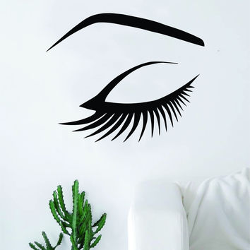 Eye and Eyebrow Wall Decal Sticker Vinyl Room Decor Art Girls Stylist Logo Female Hair Spa Shop Beauty Salon Make Up