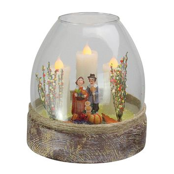 """5"""" Battery Operated Clear Glass Pilgrim Figurine 3 Flickering Candle Thanksgiving Jar"""