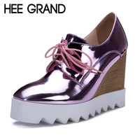HEE GRAND Patent Leather Oxfords Wedges Gold Silver Platform Shoes Woman Casual Creepers Pink High Heels High Quality XWD3438