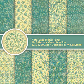 Floral Lace Digital Paper, Green and Yellow, printable lace flowers, digital lace flower designs, craft and wedding papers, Buy 2 Get 1 Free