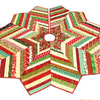 Christmas Tree Skirt Quilt - Chevron Style Scrappy Glitzy Red Green Gold Strings Tree Skirt Quiltsy Handmade