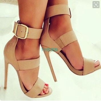 Women Summer Shoes Gladiator High Heel Sandals 2016 Buckle Sandlias Four color Sexy sexy dames schoenen 35-42 nude heels