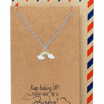 Mary Beautiful Rainbow Necklace with Inspirational Quote Card