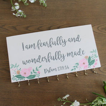 Fearfully and Wonderfully Made | Hair Bow Holder | Girl Jewelry Holder | Hair Bow Holding Sign | Custom Hair Bow Sign