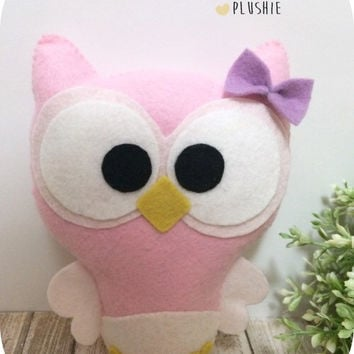 Cute Baby Owl - Nursery Decor - Felt Plush Toy - Custom Color