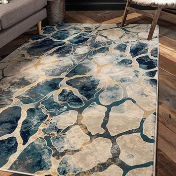 0157 Navy Blue Abstract Contemporary Area Rugs