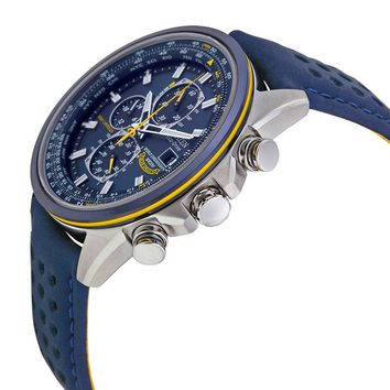 Citizen Eco Drive Blue Angels World Chronograph Leather Mens Watch