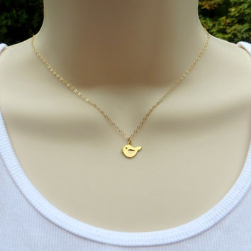 Tiny Bird Necklace. Gold Filled Pendant Necklace. Dainty Baby Bird Necklace. Gold Fill.