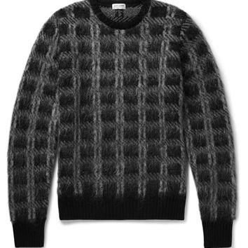 Saint Laurent - Slim-Fit Checked Brushed Knitted Sweater