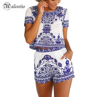 2016 Vestido De Festa Women Dresses Plus Size China Element Pattern Short Sleeve Mini Club Party Dress 2 Piece Set Dress