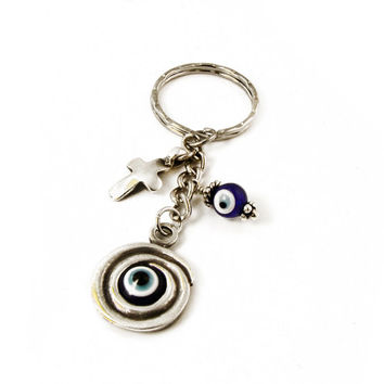 Evil Eye Keychain, Greek Mati Keychain, Metal Cross & Eye Bead Keychain