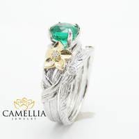 Unique Emerald Engagment Ring 14K Gold Twig Engagement Ring Natural Emerald Ring
