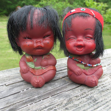 Vintage Pair of American Indian Baby Dolls--Grumpy and Happy--Rubber Toy Doll--Made in Hong Kong--Travel Souvenir--Kitsch--Collectibles