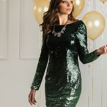 Tawny Green Ombre Sequin Dress