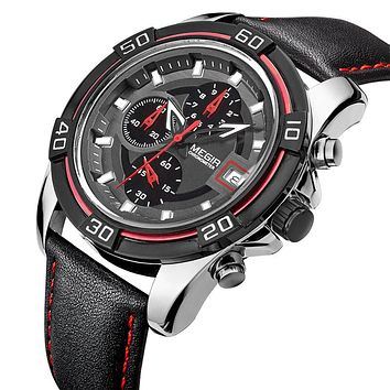 GLADIATOR TIGRUS Men's Military / Sports Watch with 6 Hands and 6 Hours Chronograph with Leather Strap