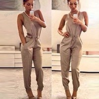 Plus Size Summer rompers womens jumpsuit Sleeveless solid High Waist Pocket Playsuit 63
