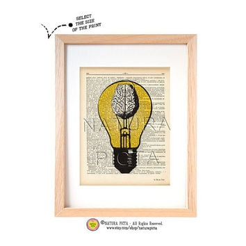 Anatomical light bulb with brain dictionary print-brain art print-Anatomy print-think and use your brain-anatomical wall art-by NATURA PICTA