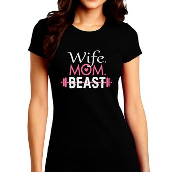 TooLoud Wife Mom Beast Juniors Petite Crew Dark T-Shirt