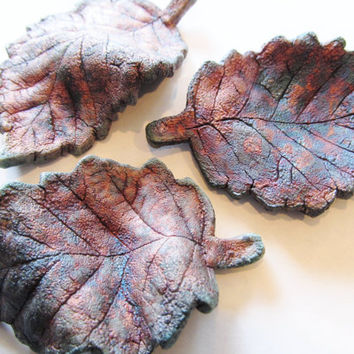 Ceramics and Pottery Home Decor, Decoration, Fall Colors Leaf Set of 3, Multi Color Copper Matte Luster Raku Ceramic, Alder Leaves