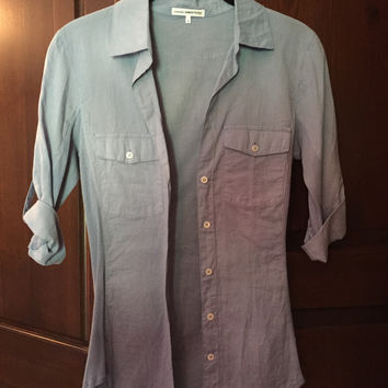 James Perse Ribbed Panel Shirt In Grey/Blue