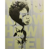 NINA SIMONE Pop Art and Graffiti Inspired Portrait 12x16 on Wood