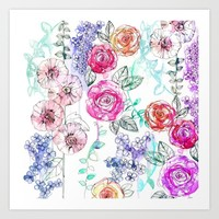Pastel Rose Garden 02 Art Print by Holly Sharpe