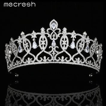 Mecresh European Design Cubic Zirconia Tiaras and Crowns Crystal Silver Color Bridal Wedding Hair Jewelry Accessories MHG099