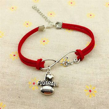 I Love Football - Red Suede Charm Bracelet (perfect for 'Bama Fans)