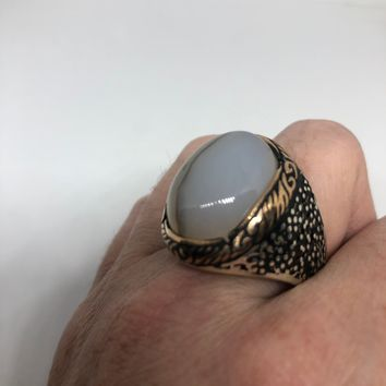 Vintage 1970 Gothic Sterling silver Genuine White Onyx Rose Gold Mens Ring