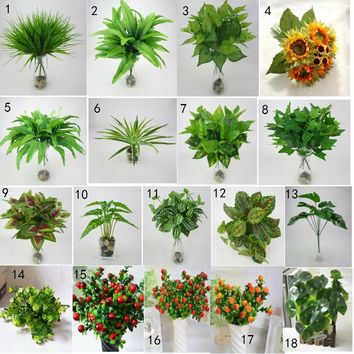 18 Styles Artificial Green Plant Leaves Decorative Green Grass Plant Flowers for Home Office Decoration