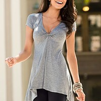 Heather Grey Knotted tunic from VENUS
