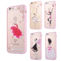 "New Ballet Girl Elegant Lady Phone Case For IPhone 6 6S Plus 4.7/5.5""inch Pink Soft TPU Silicon Style"