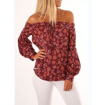 Bohemian Floral Print Blouses Women's Autumn Long Sleeve Off Shoulder Tops Ladies Harajuku Casual Loose Shirts Cropped #LH