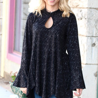 Acid Wash Keyhole + Peplum Flare Top {Black}