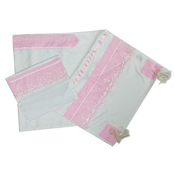 Pink Embroidered Tallit Set