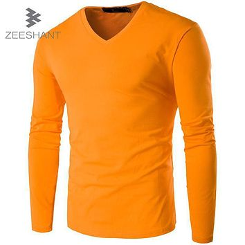 ZEESHANT Fashion Brand Men Clothes Solid Color Long Sleeve Slim Fit T Shirt Men Cotton Casual 4XL 5XL T Shirt in Men's T-Shirts