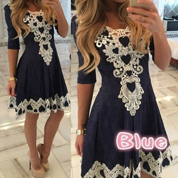 A-line Solid Dress Lace Vestidos (Please note: Only Blue is Lace dress; Navy Blue/Dark Blue is Printing Dress) 01-012
