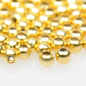 50 Pieces Matte Gold Mini Ball Spacer Beads, Gold Bead Spacers, Jewelry Findings, Jewelry Making Supply