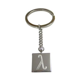 Silver Toned Etched Greek Letter Lambda Pendant Keychain