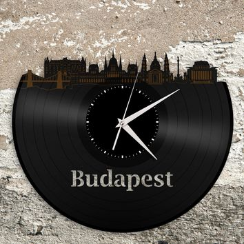 Grand Budapest Clock, Wes Anderson,  Hungary Skyline Wall Art, Personalized Gift, Unique Gift for Him, Record Clock, Vinyl Album Art Clock