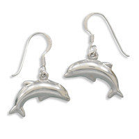 Polished Dolphin French Wire Earrings