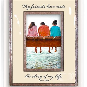 My Friends Have Made The Story Of My Life Copper & Glass Photo Frame
