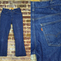 Vintage Early 70's 646 Orange Tag Levi's Bell Bottom Jeans 31x32
