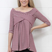 Smocked Off Shoulder Striped Tunic Top {Burgundy}