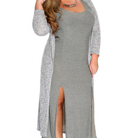 Grey Open Front Long Sleeves Hooded Plus Size Cardigan