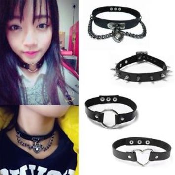 Chic Buckle Collar Necklace Punk Gothic Leather Heart Chain Spike Rivet Choker
